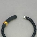 Italgem Black Leather with Gold IP Stainless Steel Bracelet