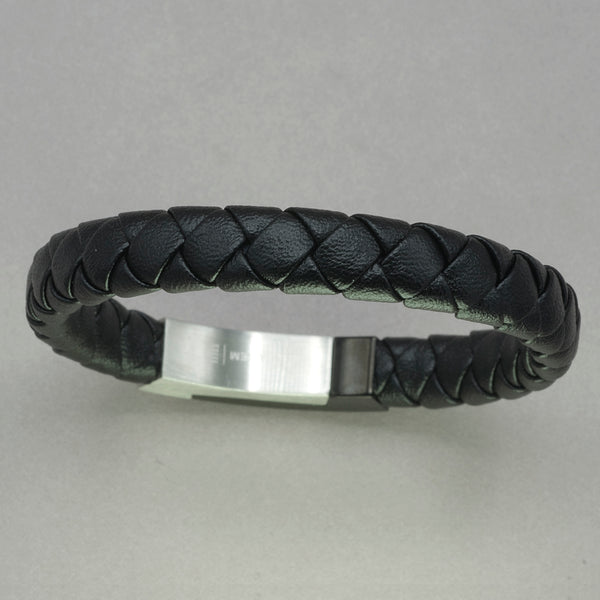 Italgem Black Leather with Black IP Stainless Steel Clasp Bracelet