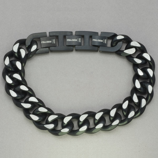 Italgem Black IP Stainless Steel Chain Bracelet