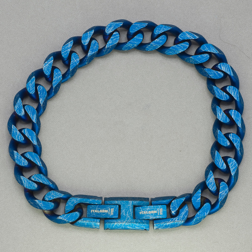 Italgem Blue IP Stainless Steel Chain Bracelet