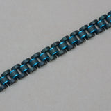 Italgem Black and Blue Stainless Steel and Carbon Fiber Bracelet