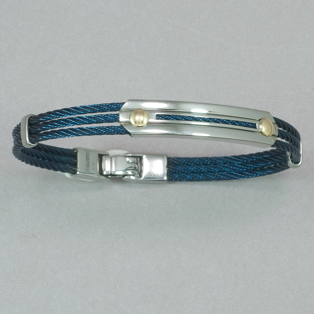 Italgem Navy Stainless Steel Cable Bracelet