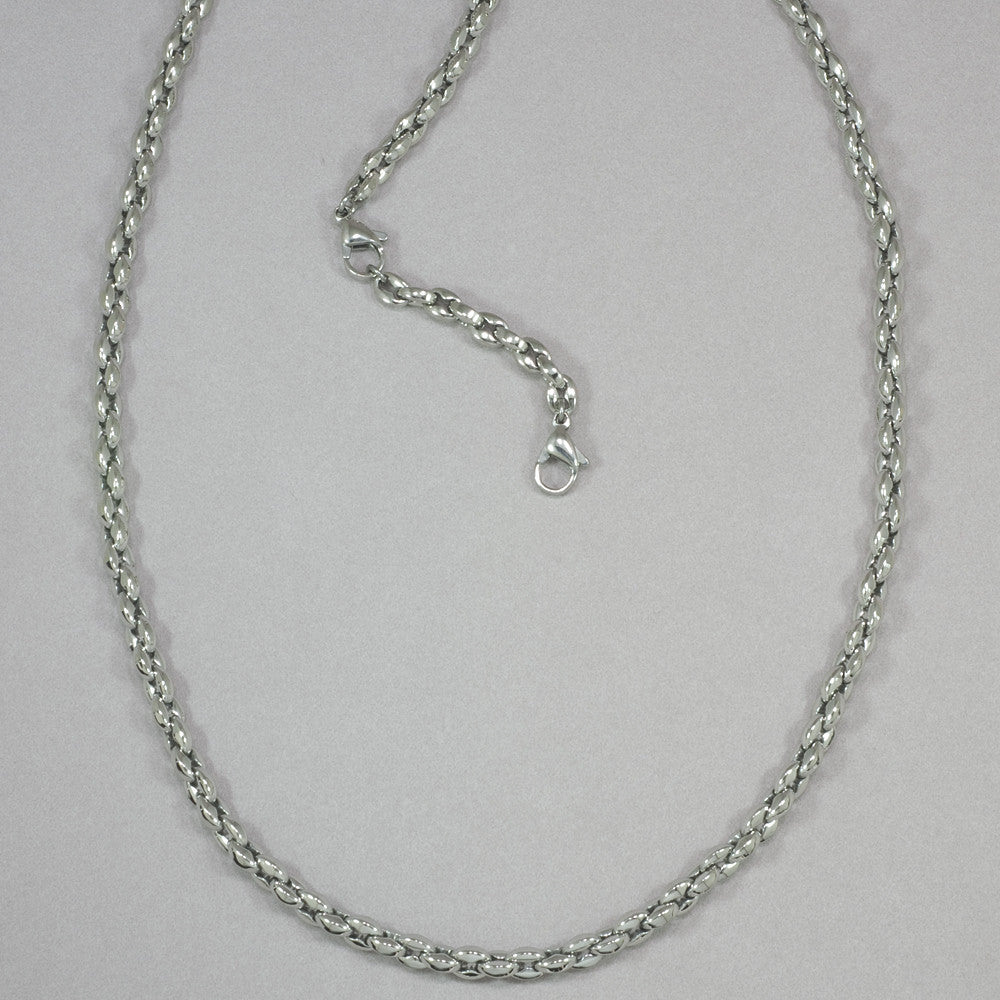 "Italgem S. Steel 4.5mm-Hand-Oval-Link Polished 22""+2"" Chain Necklace"