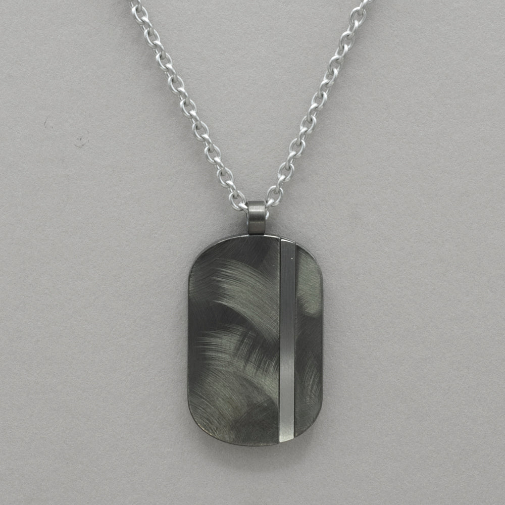 Italgem Textured Stainless Steel Dogtag Necklace
