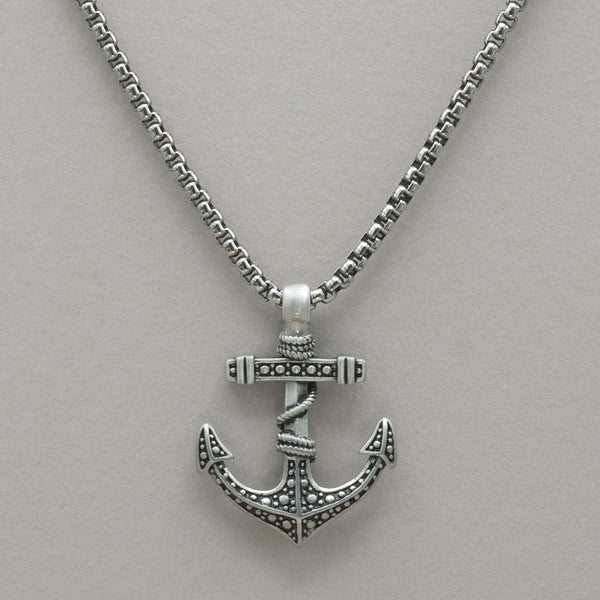 Italgem Matte Stainless Steel Anchor Necklace