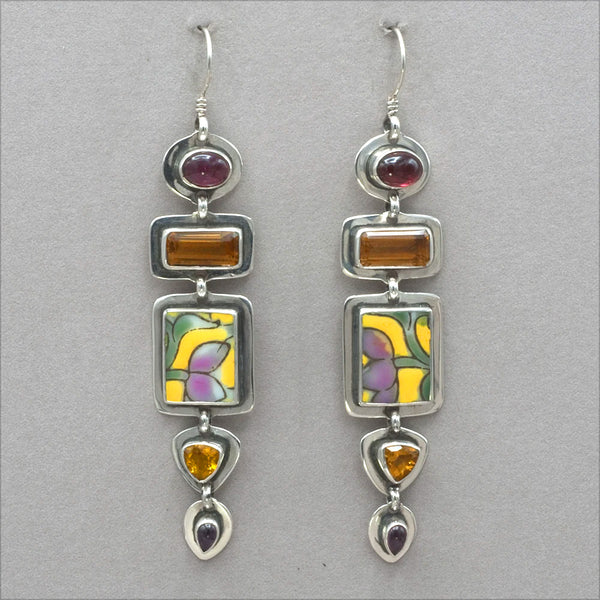 Tabra Chinese Pottery and Citrine Earrings