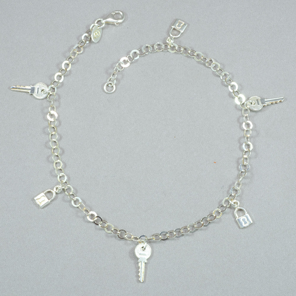 Sterling Silver Lock and Key Anklet
