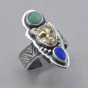 Tabra Jaguar with Turquoise and Lapis Ring