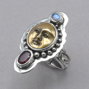 Tabra Bronze Face with Moonstone and Tourmaline Ring