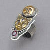 Tabra Bronze Face and Jaguar with Garnet Ring
