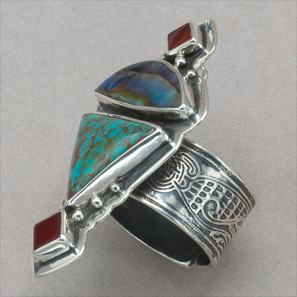 Tabra Carnelian, Abalone and Turquoise Ring