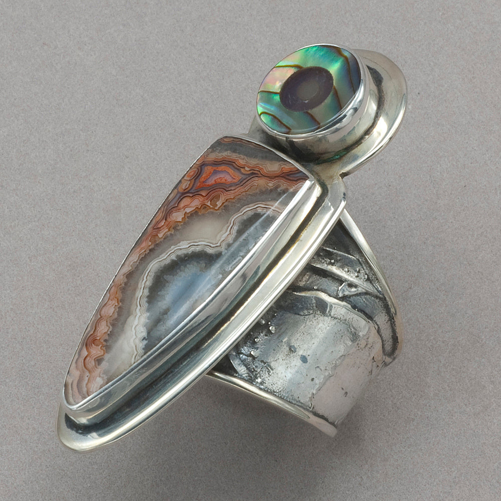 Tabra Abalone and Quartz Inlay with Agate Ring