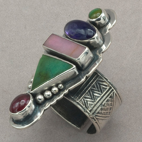 Tabra Turquoise, Amethyst, Rhodonite and Pink Tourmaline Ring
