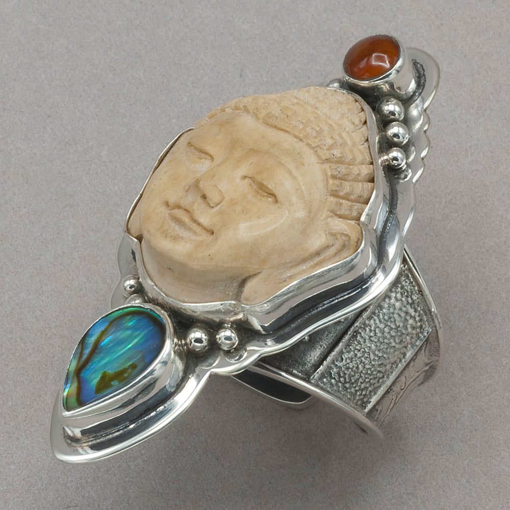 Tabra Bone Buddha with Amber and Abalone Ring