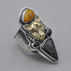Tabra Jaguar with Amber and Bone Ring