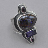 Tabra Boulder Opal and Amethyst Ring