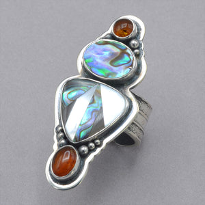 Tabra Abalone and Mother of Pearl Inlay with Amber Ring