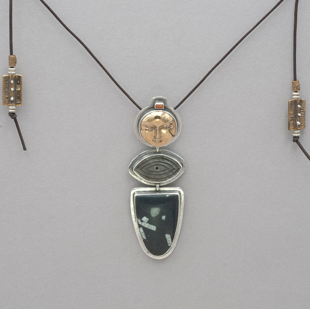 Tabra Sun Face, Mother of Pearl and Chinese Writing Stone Necklace