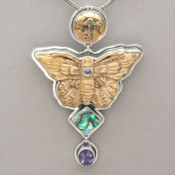Tabra Bug Goddess with Abalone and Amethyst Pendant