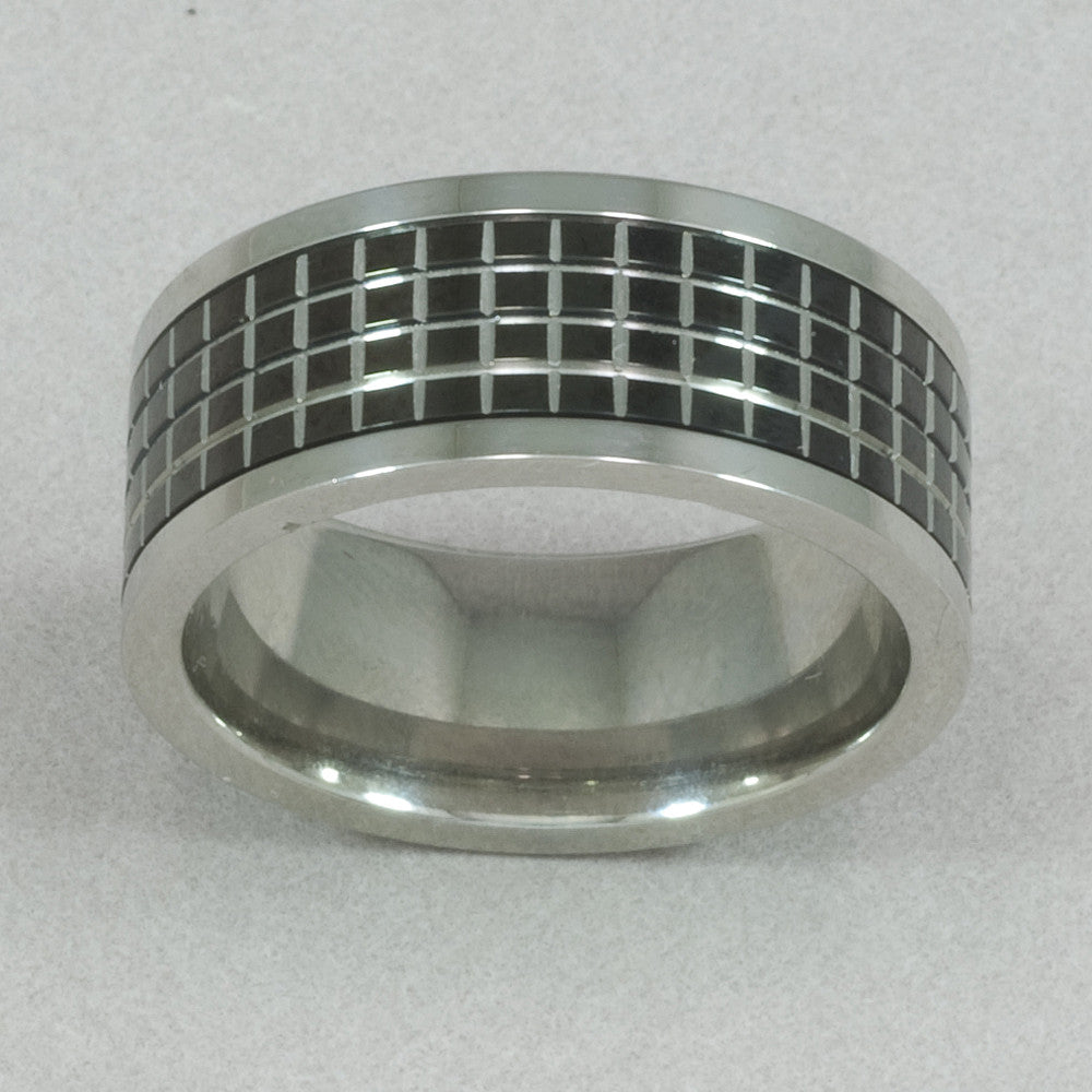 Men's Grid Black Pattern Spinner Ring