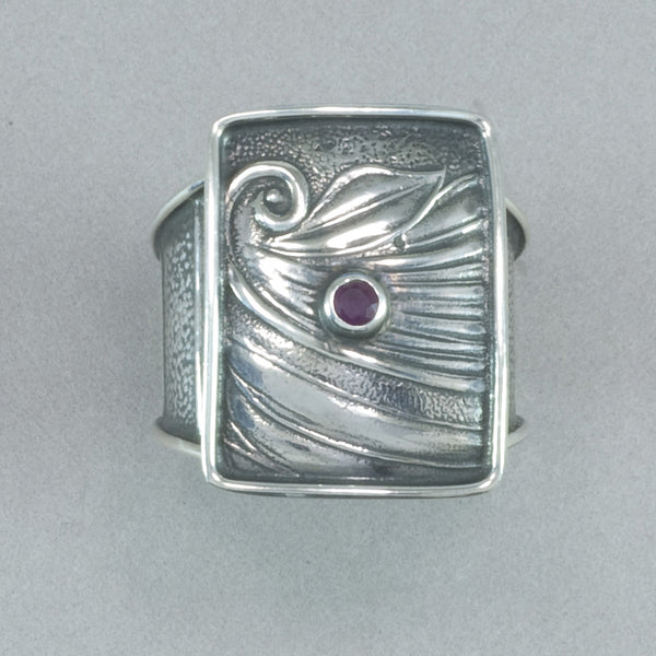 Tabra Embossed Sterling Silver and Ruby Ring
