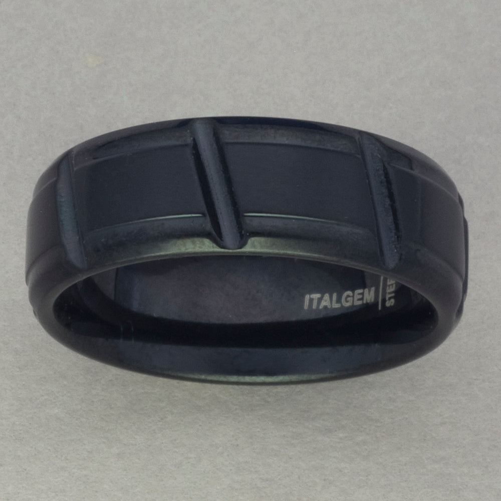 Italgem Black Stainless Steel Ring