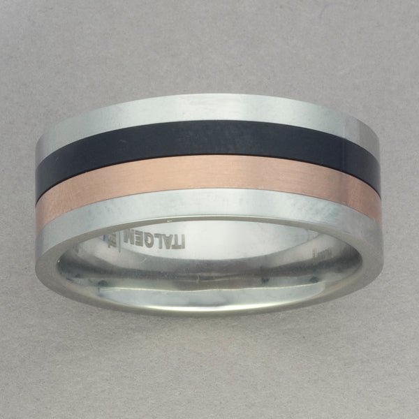 Italgem Stainless Steel Black and Rose IP Spinner Ring