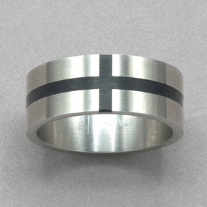 Italgem Stainless Steel Black Cross Ring