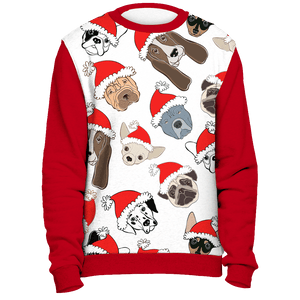 All Over Dogs Christmas Sweater - Red