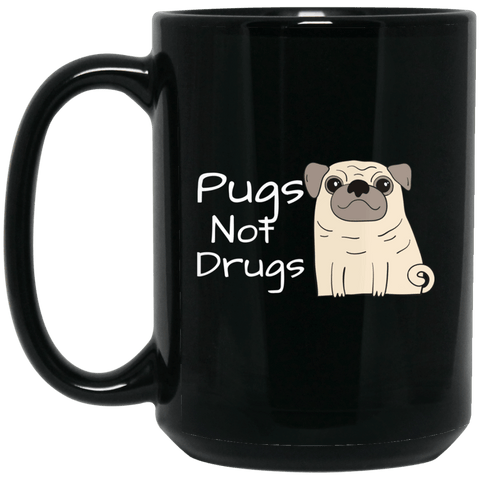 Pugs Not Drugs Black Coffee Mug