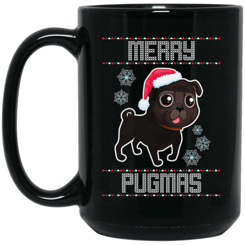 Merry Pugmas Black Pug Coffee Mug