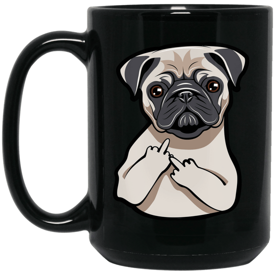 Pug Middle Finger Coffee Mug