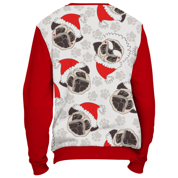 All Over Pug Face Christmas Sweater - Red