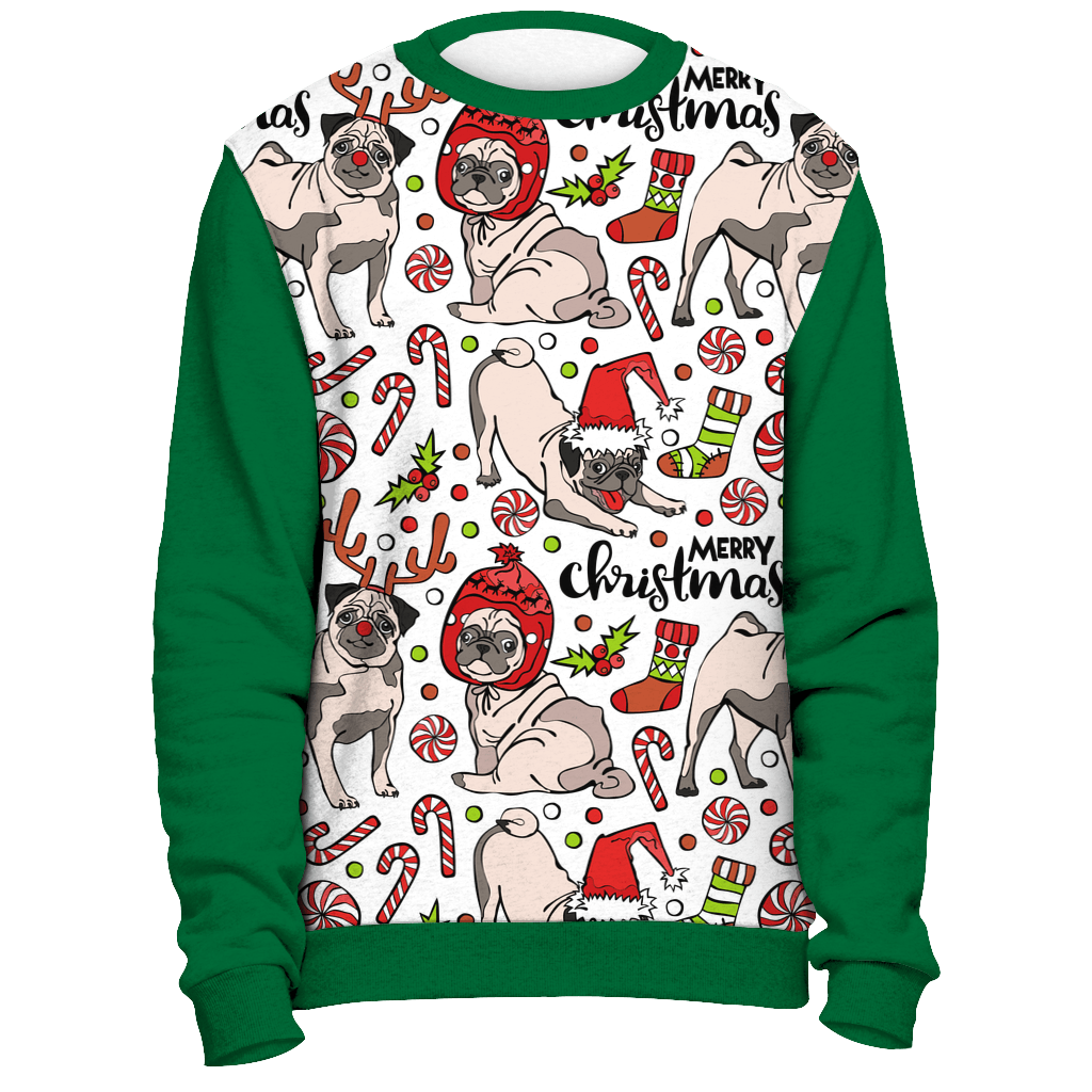 all over merry pug christmas sweater green