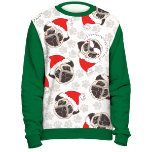 All Over Pug Face Christmas Sweater - Green