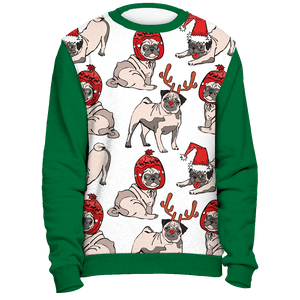 All Over Pug Reindeer Christmas Sweater - Green