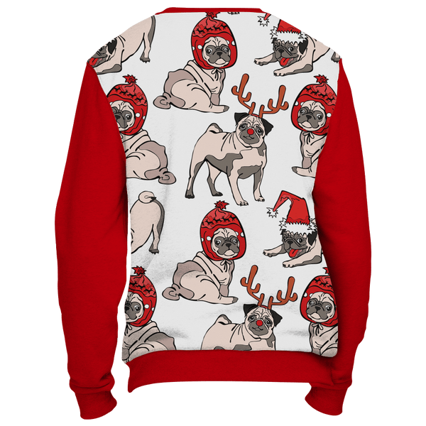 All Over Pug Reindeer Christmas Sweater - Red