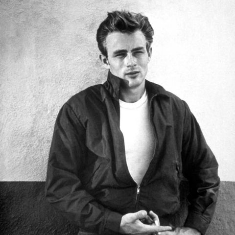 Young James Dean wearing a zipped Jacket
