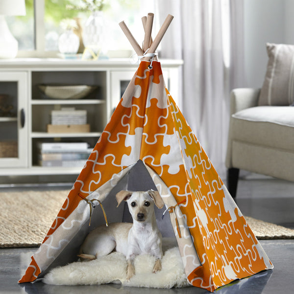 Merry Products™ Pet Teepee with Orange Puzzle PTP0010202200 PTP0020202200 - A Doggie's Home