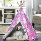 Merry Products™ Pet Teepee with Pink Puzzle PTP0050203100 PTP0060203100 - A Doggie's Home