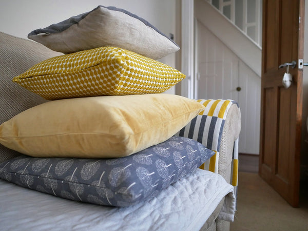 slate and saffron pillows