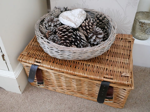 grey basket decor