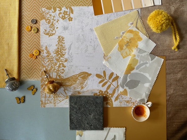 slate and saffron mood board