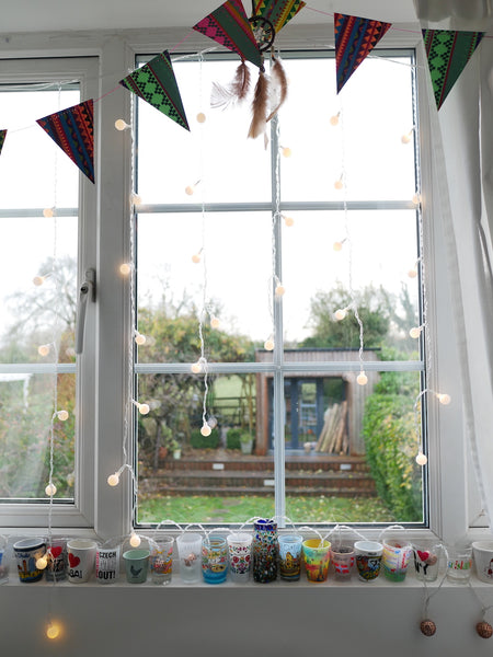 fairy lights on window