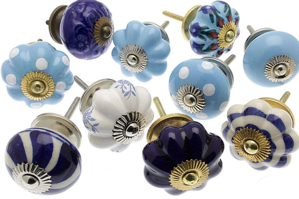 forget me not blues cupboard knobs
