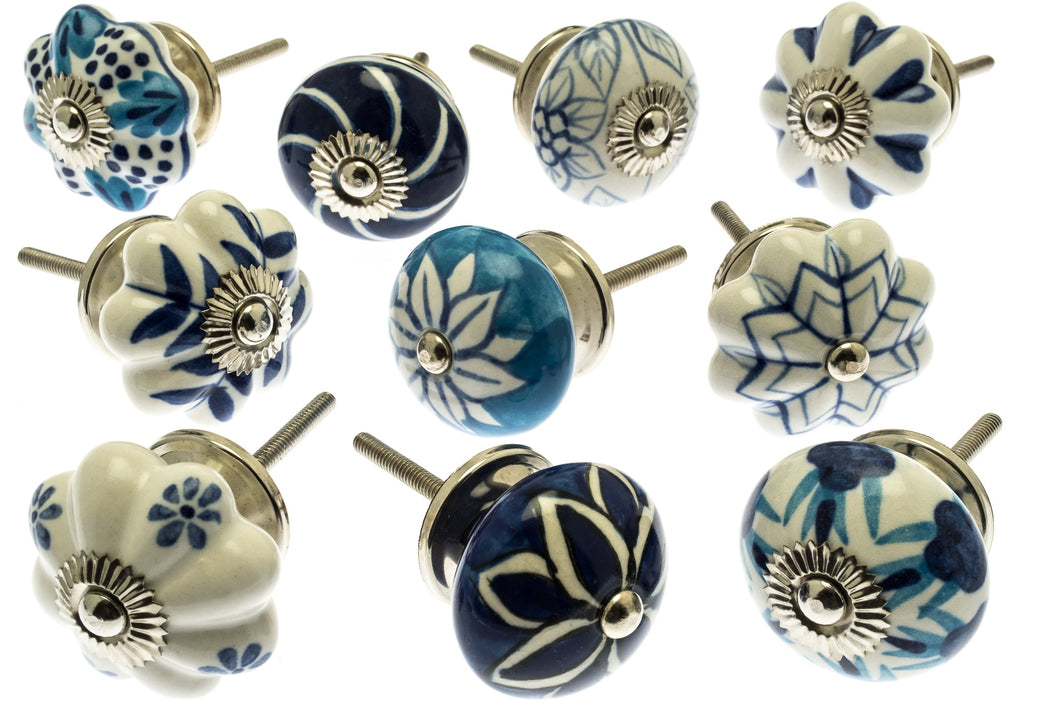 Ceramic Door Knobs Artisan Mixed Blue & White (Set of 10)