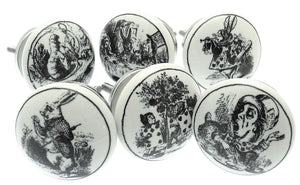 Ceramic Door Knobs Exclusive Alice in Wonderland (Set of 6)