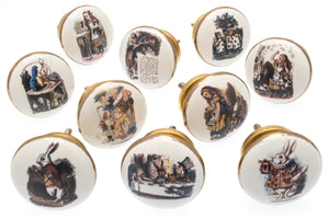 Ceramic Cupboard Door Knobs Alice in Wonderland in Colour with Gold Surround (Set of 10)
