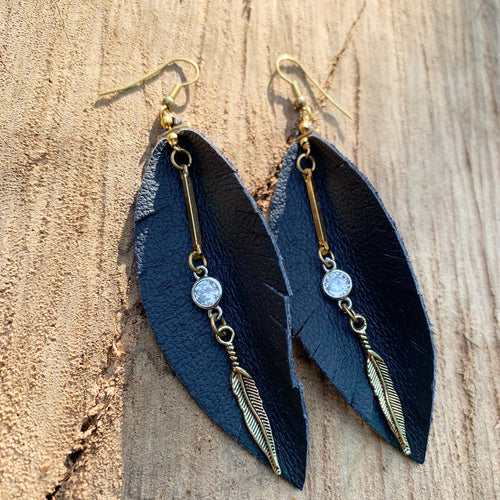 Leather Feather Earrings - Navy Blue with gold and crystal