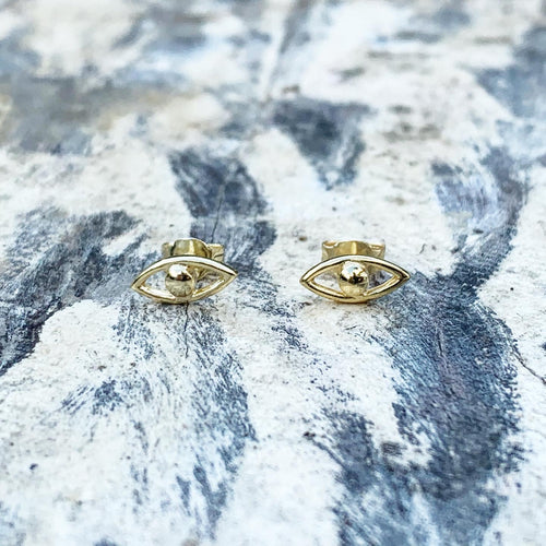 Sterling Silver Evil Eye Studs - Cut Out - 18k Yellow gold